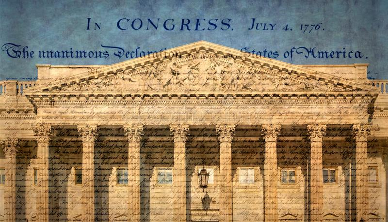 United States Capitol building with famous declaration. The marble sculptural pediment over the entrance on the U.S. Capitol, called `Apotheosis of Democracy` by stock photography
