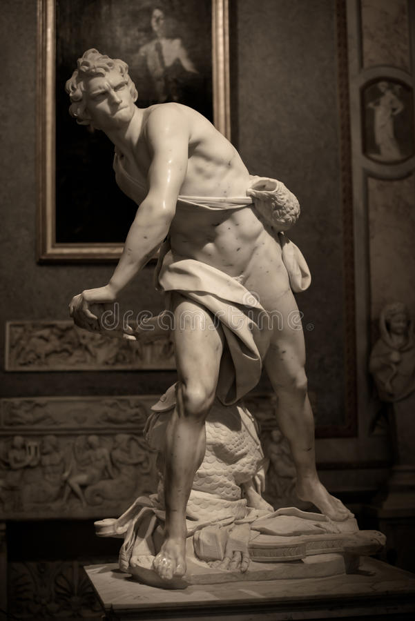 Marble sculpture David by Gian Lorenzo Bernini. In Galleria Borghese, Rome, Italy royalty free stock images