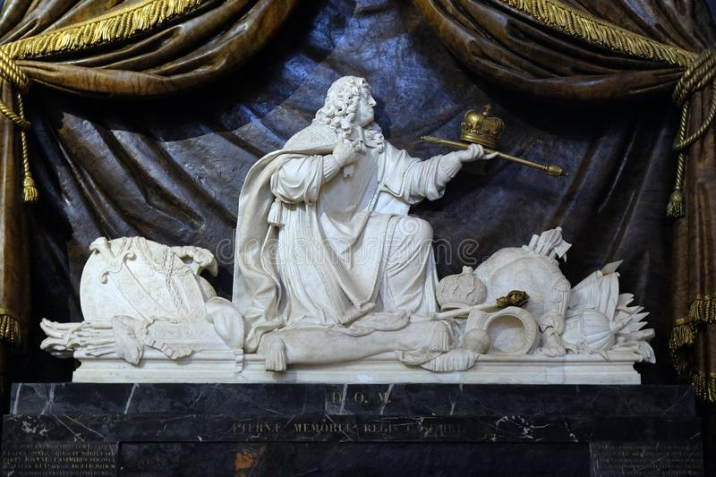 Marble sculpture of the mausoleum of John II Casimir, king of Poland. Marble sculpture of the mausoleum of John II Casimir, king of and by Gaspard and Balthazar stock photography