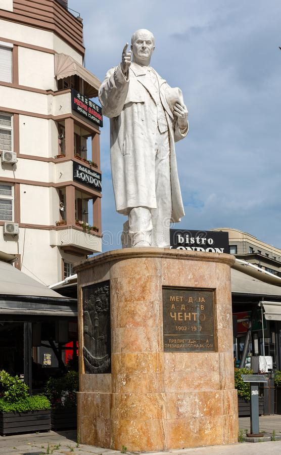 Marble sculpture of Metodija Andonov Chento, Yugoslav and Macedonian politician, anti-fascist, in Skopje, Macedonia stock images