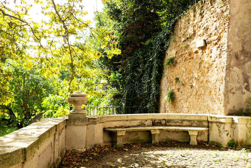 Marble seating area at the Botanic Garden (Orto Botanico),Trastevere, Rome, Italy. royalty free stock images