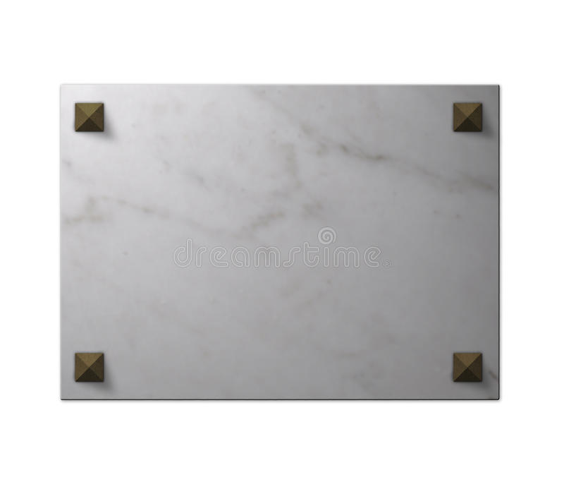 Marble Slab. A marble slab with four pyramidal studs at the corners. The empty space can be used to insert personalized content stock image