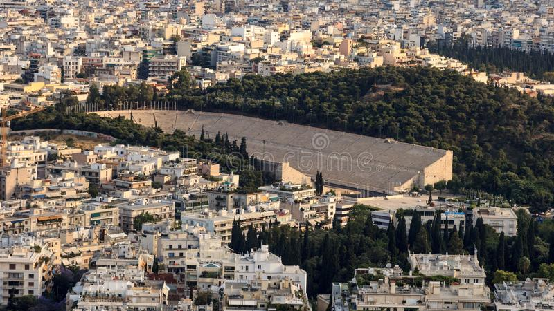 The marble stadium of first Olympic games. In Athens, Greece stock photography