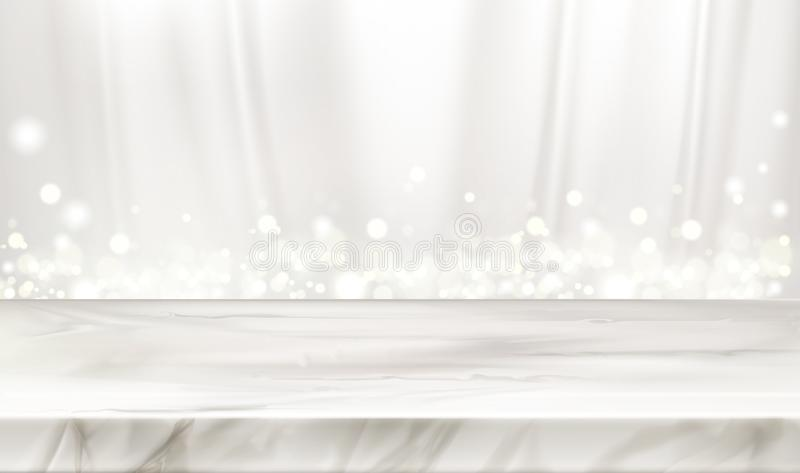 Marble stage or table with white silk background. Marble stage or table with white silk curtains background and glowing sparkles. Elegant decorative backdrop stock illustration