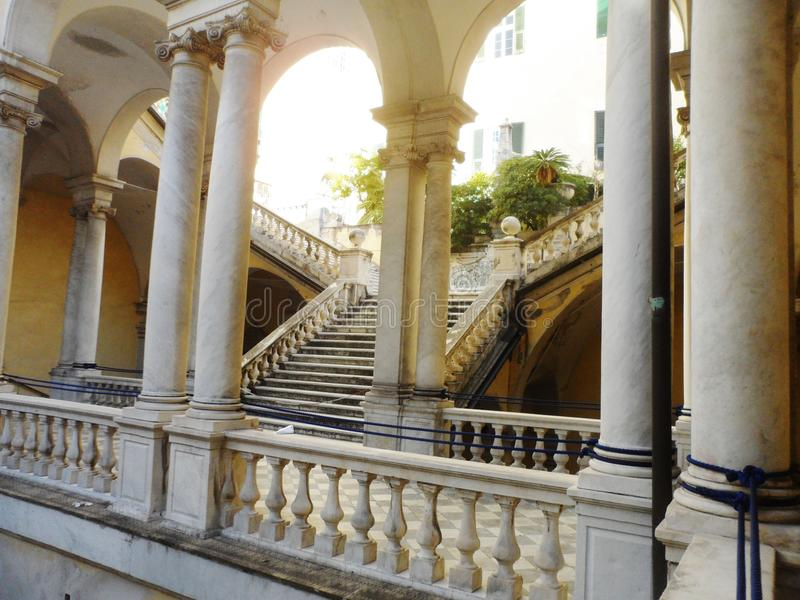 Staircase, University of Genoa, Italy. Marble staircase in atrium at University of Genoa, Italy stock photography