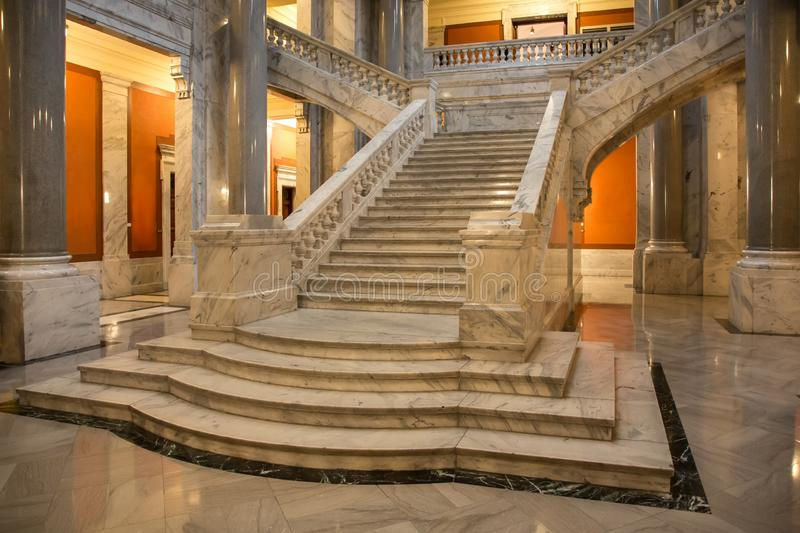 Marble Staircase and Columns royalty free stock photography