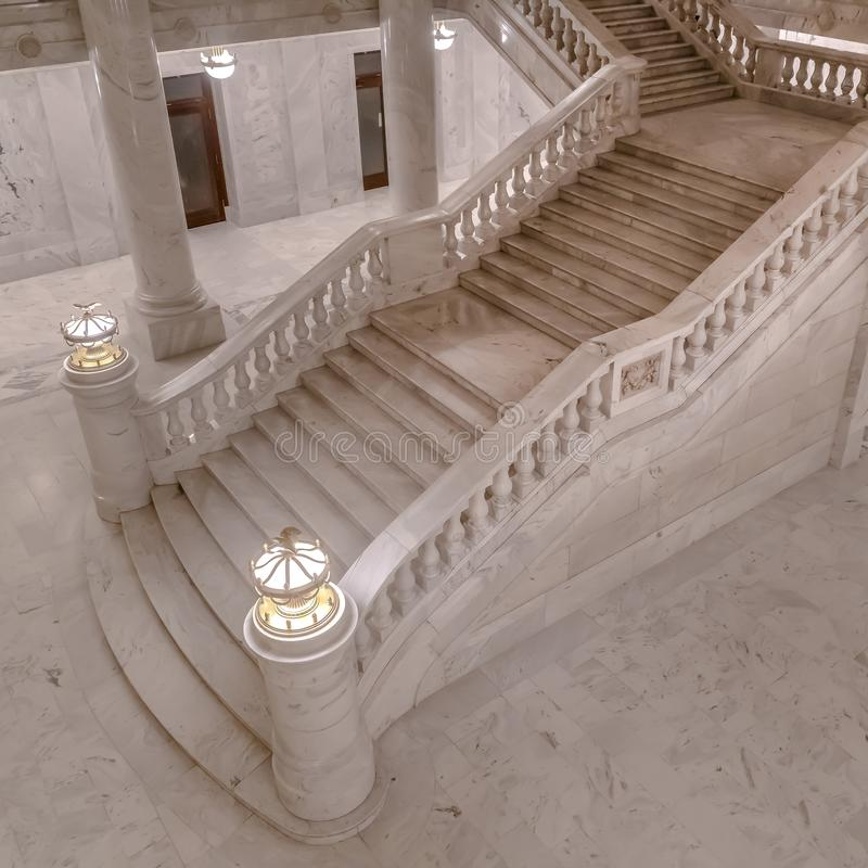 Marble stairs inside Utah State Capital Building royalty free stock images
