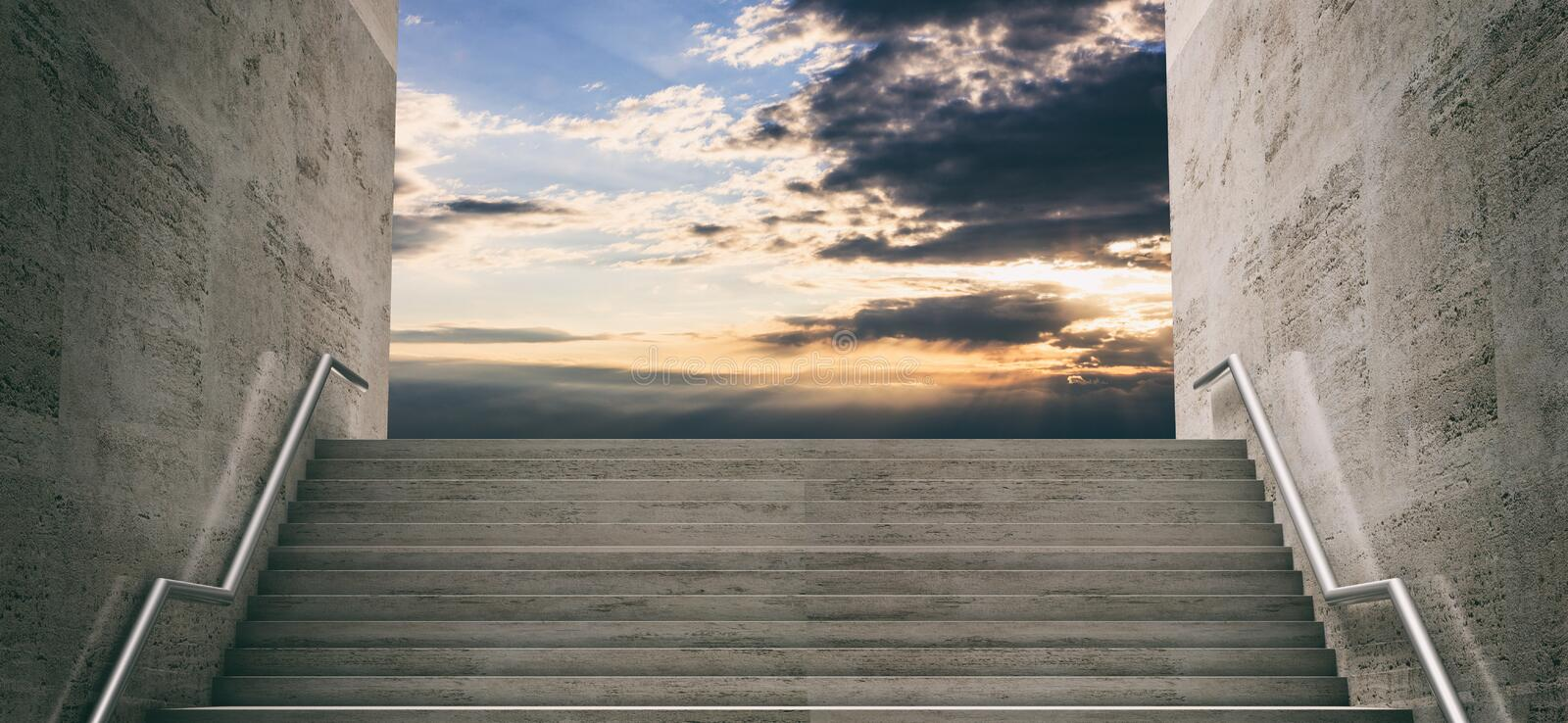 Marble stairs, sky at sunrise background. 3d illustration vector illustration