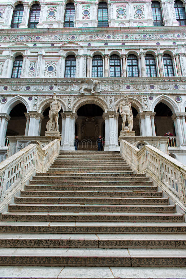 Marble stairway at Doge's Palace in Venice, Italy royalty free stock photography