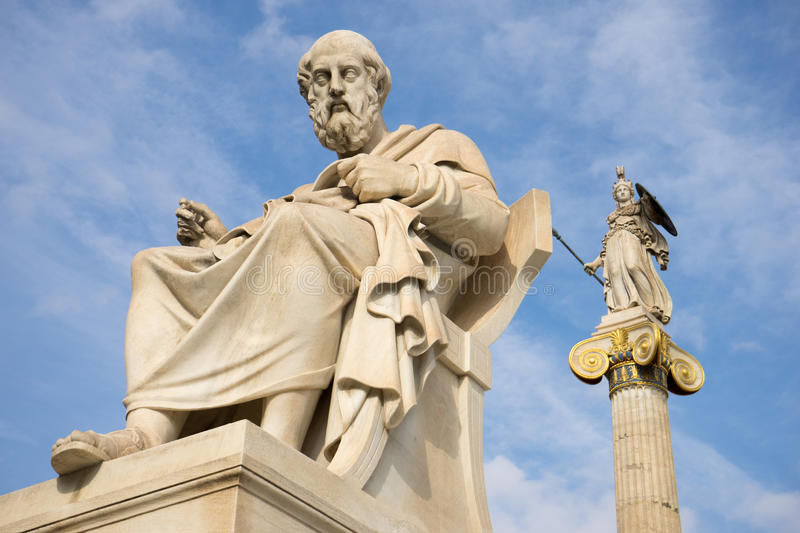 Marble statue of the ancient Greek Philosopher Plato. stock photos