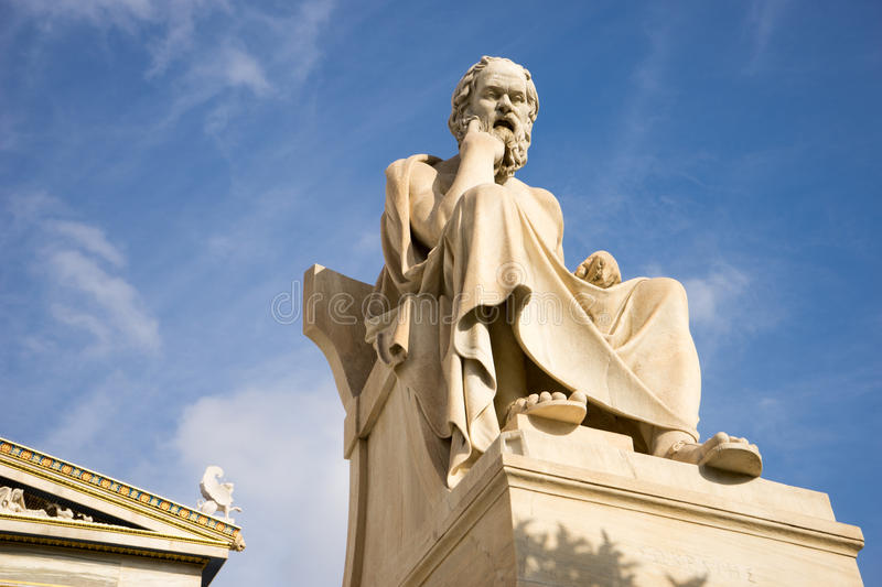 Marble statue of the ancient Greek Philosopher Socrates. Academy of Athens,Greece stock image