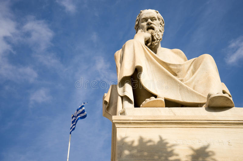 Marble statue of the ancient Greek Philosopher Socrates. Academy of Athens,Greece royalty free stock photography