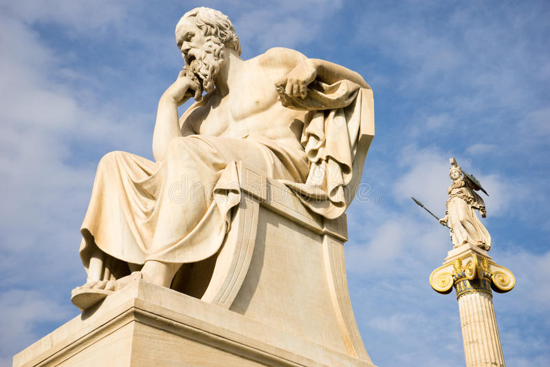 Marble statue of the ancient Greek Philosopher Socrates. Academy of Athens,Greece royalty free stock photos
