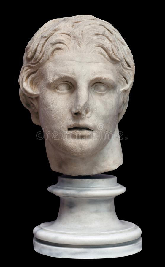 Head of Alexander the Great. Marble statue - Head of Alexander the Great on black background. Hellinistic period, 2th Century BC royalty free stock photography