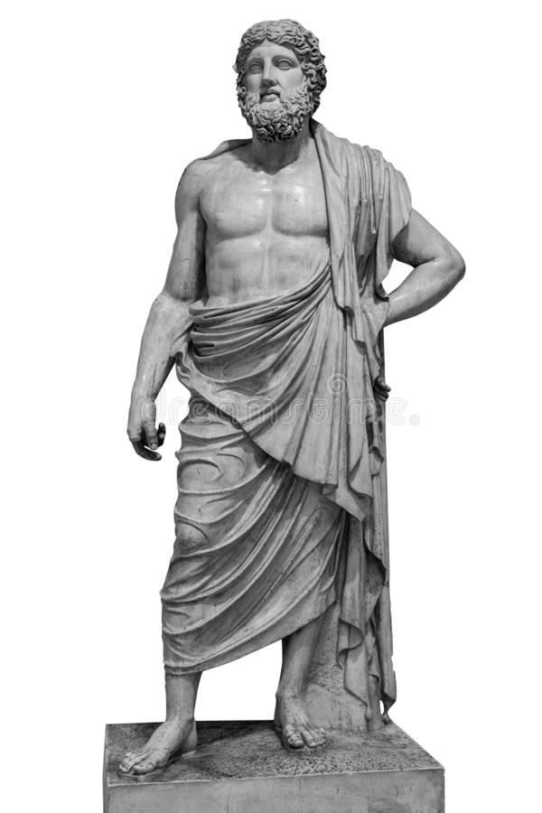 Free Marble Statue Of Greek God Zeus Isolated On White Background Stock Photography - 132321502