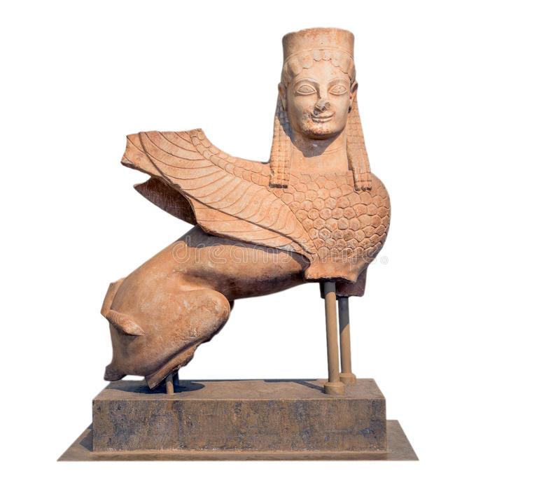 Marble statue of a sphinx, found at Spata, Attica, Greece. Statue of a sphinx, made of Pentelic marble. It was found at Spata, Attica (570-550 B.C.). It is one royalty free stock images
