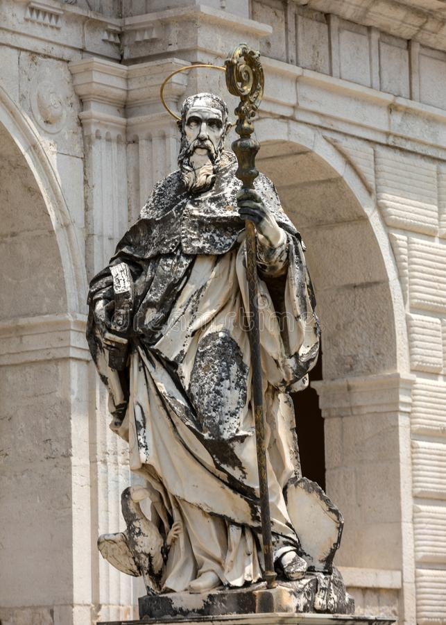 Marble statue of St. Benedict by P. Campi of Carrara, Cloister of Bramante, Benedictine abbey of Montecassino, Monte Cassino royalty free stock photography
