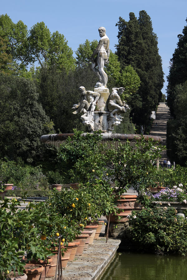 Marble statues in the Boboli Gardens in Florence royalty free stock images