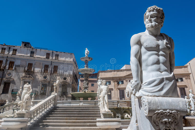 Marble statues on staircase, Palermo, Italy. Marble statues lining staircase outdoors in the Sicilian city of Palermo, Italy royalty free stock image