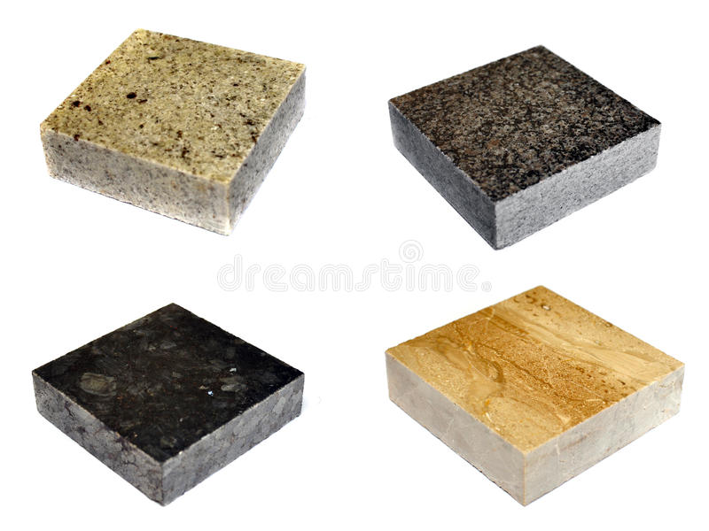 Marble stone. Pieces of marble stone, different textures and colors royalty free stock photo