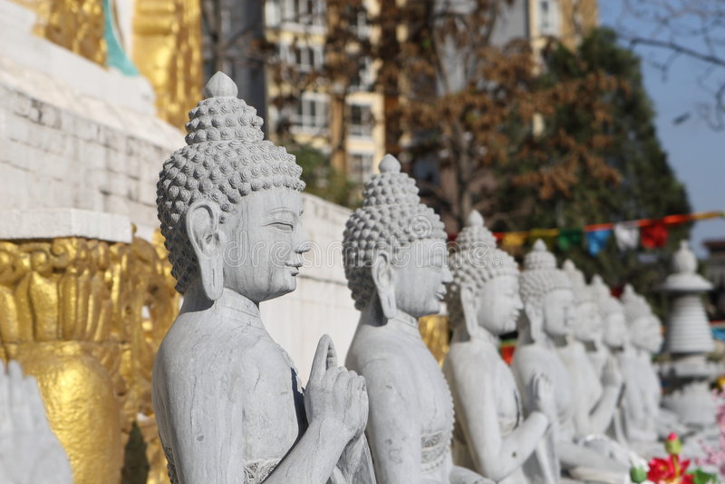 Marble stone buddhas royalty free stock image