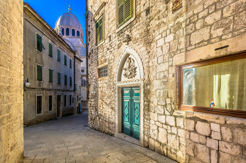 Marble streets in town Sibenik, Croatia. View at mediterranean streets in town Sibenik, popular touristic destination in Dalmatia region, Croatia Europe royalty free stock photos