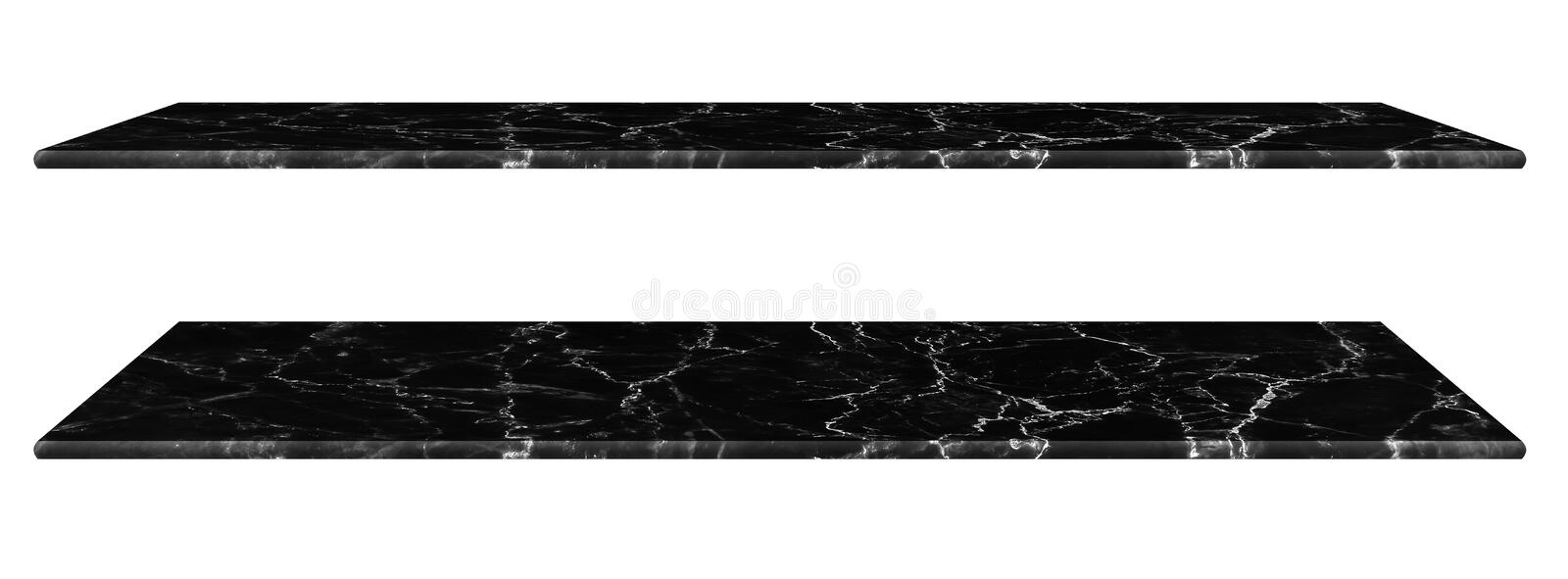 Marble table, counter top Black surface, Stone slab for display products isolated on white background have clipping path royalty free stock image