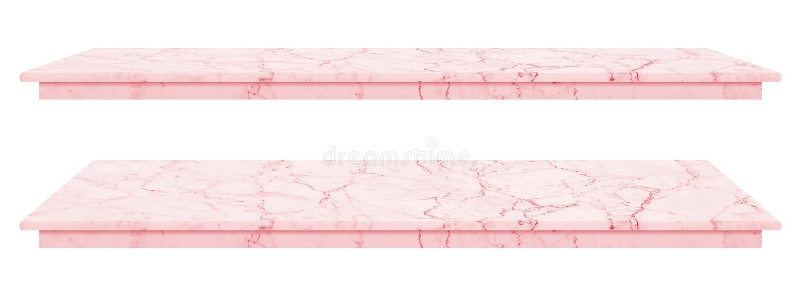 Marble table, counter top pink surface, Stone slab for display products isolated on white background have clipping path royalty free stock photos