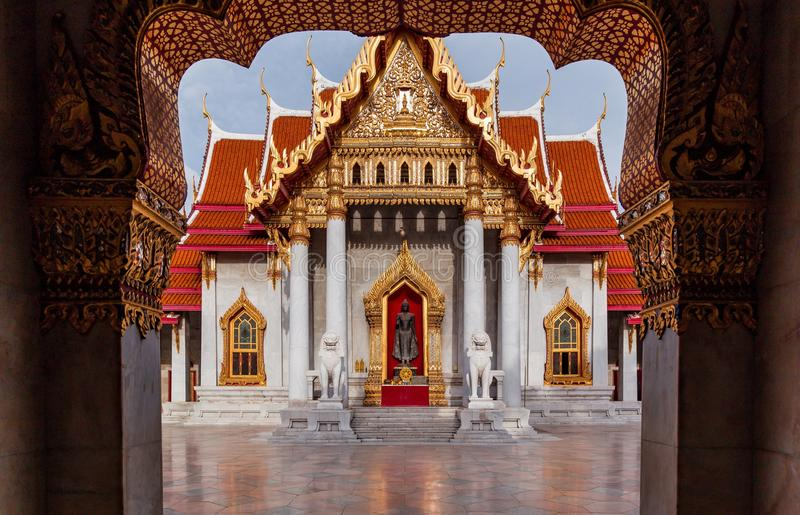 Marble temple one of famous temple in Thailand royalty free stock image