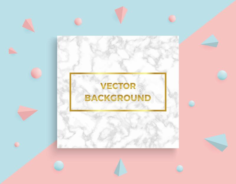 Marble texture with abstract geometric 3D elements on the pink and blue banner backgrounds. Trendy pattern minimalistic style vect vector illustration
