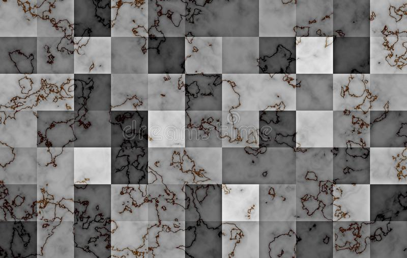 Marble textured with gradient geometric square blocks. Natural black and gold swirls and ripples on grey. Abstract background. Marble textured with gradient royalty free illustration