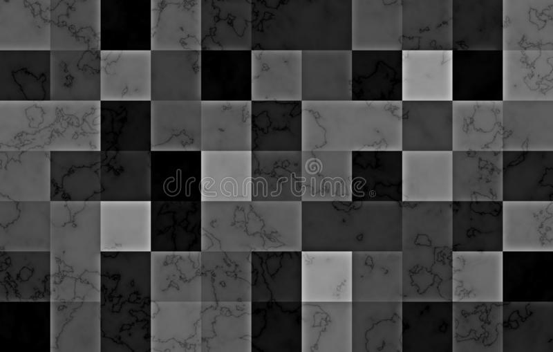 Marble textured with gradient geometric square blocks. Natural black and silver swirls and ripples on grey background. Abstract pa. Ttern stock illustration