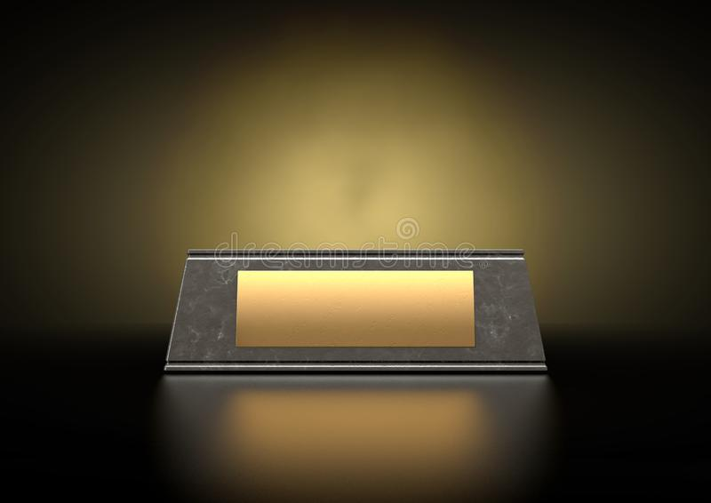 Marble Trophy Base & Plaque. An empty black marble trophy base with a blank golden plaque on an isolated studio black background - 3D render royalty free stock photo