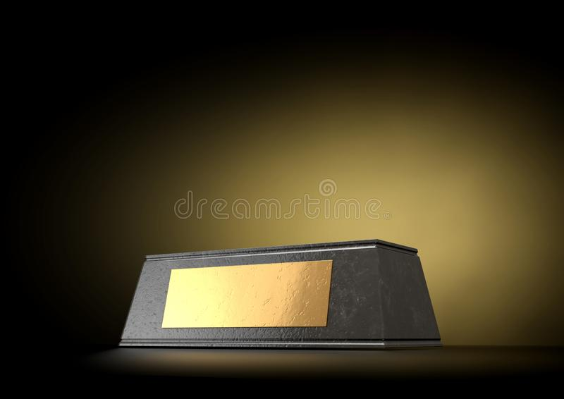 Marble Trophy Base & Plaque. An empty black marble trophy base with a blank golden plaque on an isolated studio black background - 3D render stock photo