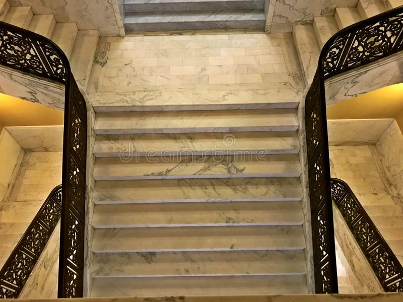 Marble Up staircase at the Judicial Center Oklahoma City royalty free stock photography