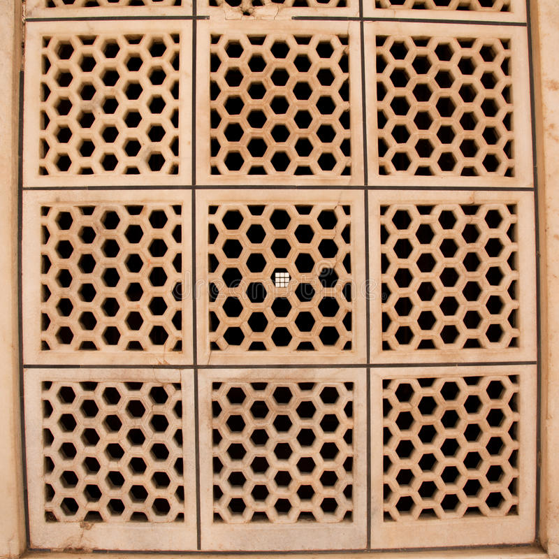 Marble ventilation panel in Taj Mahal royalty free stock images