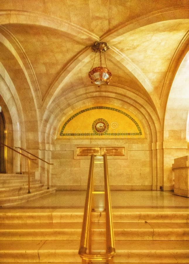 The marble walls and floors of Chicago`s City Hall. Interior Government office. CITY HALL, CHICAGO-October 13, 2018. The walls and floors of the lobby are made stock photos
