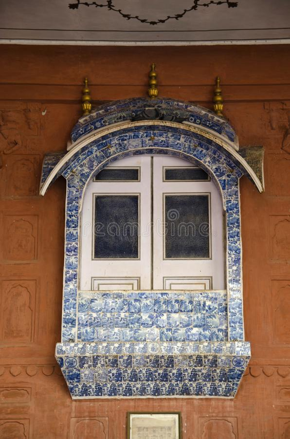 Marble window on the inner wall of Junagarh Fort, Bikaner, Rajasthan, India.  royalty free stock photos