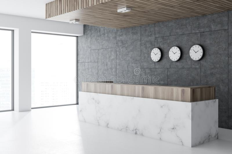 Marble reception in office lobby, clocks vector illustration