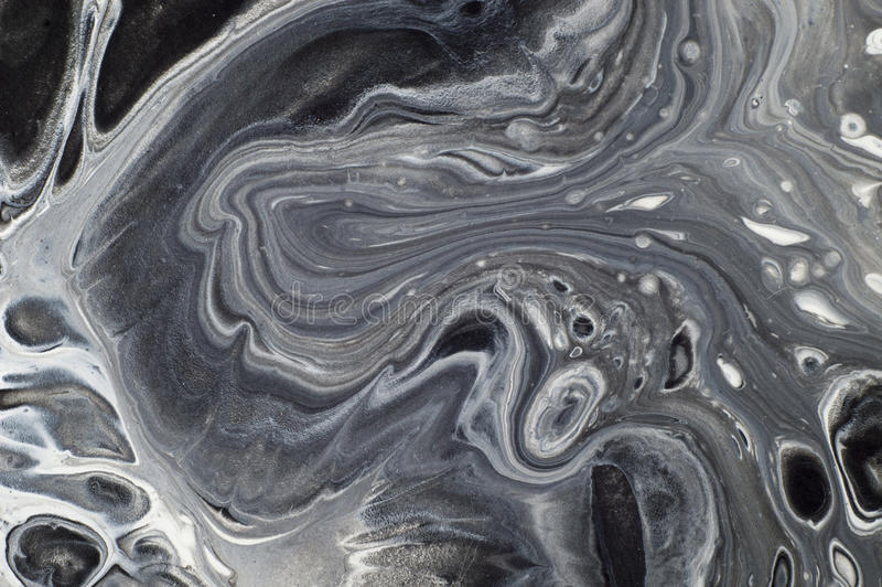 Marbled black and white abstract background. Liquid acrylic marble pattern.  royalty free stock images