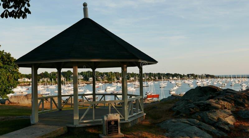 Marblehead Harbor Gazebo. Boats in Harbor Massachusetts. Sailboats stock images