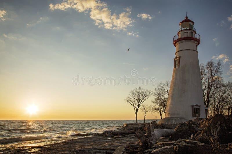 Marblehead latarni morskiej wschód słońca zdjęcia stock