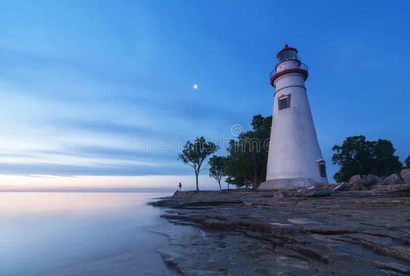 Marblehead latarnia morska przy świtem [Ohio] obraz royalty free