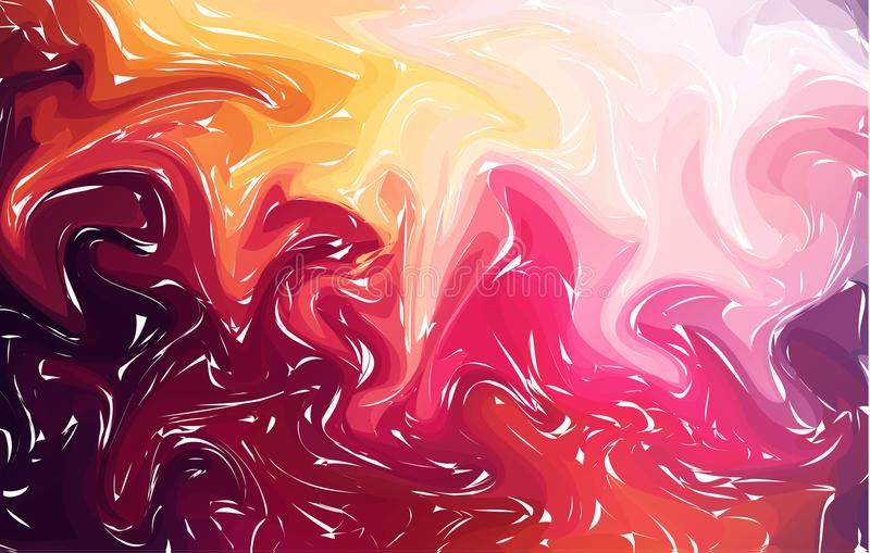 Marbling. Red Marble texture. Paint splash. Colorful fluid. Abstract liquid colored background. Vector illustration royalty free illustration
