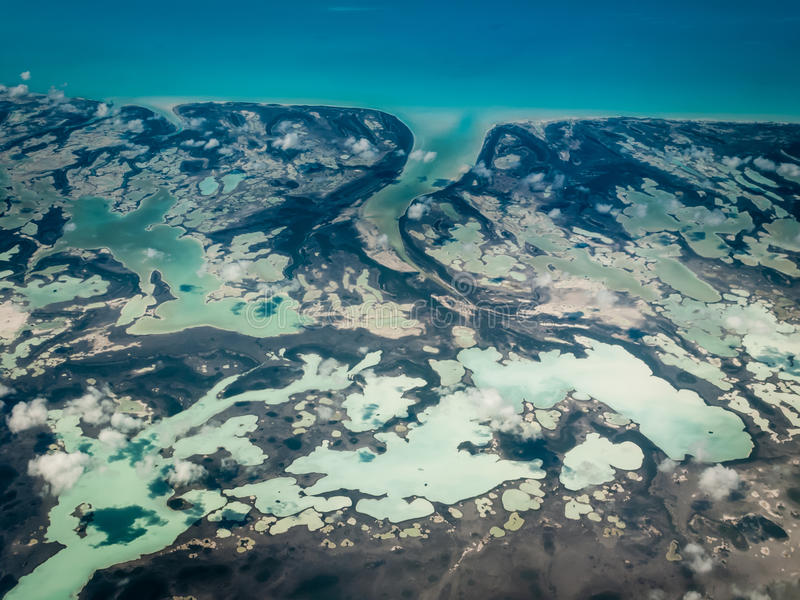 Marblized land patterns of Caribbean Islands stock images