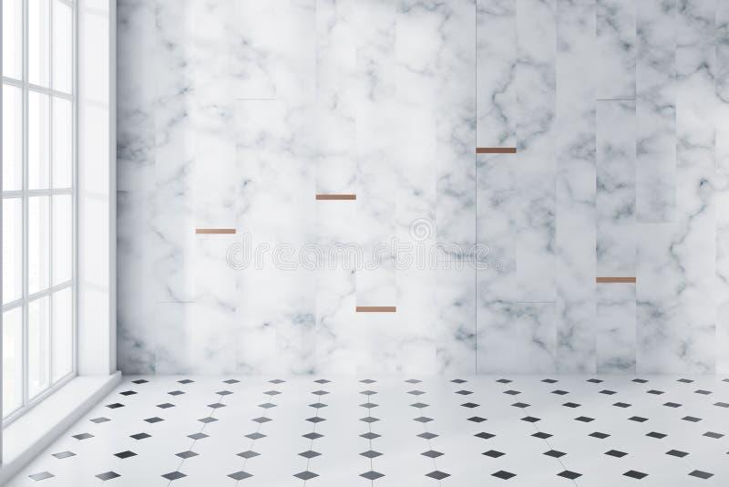 Marbre blanc et salle de bains panoramique carrelée vides illustration stock