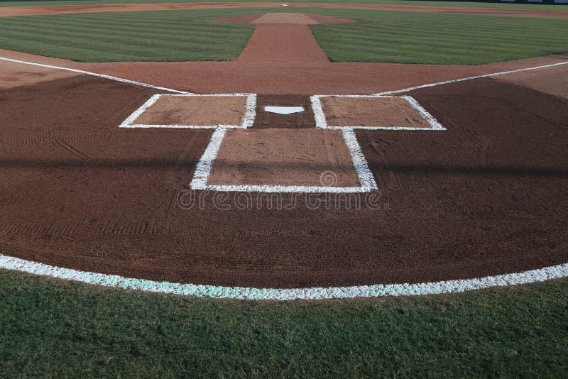 Marbre de base-ball avec des lignes de craie photographie stock libre de droits