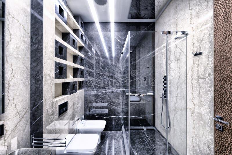 marbre noir et blanc l 39 int rieur d 39 une salle de bains moderne dans un appartement de luxe. Black Bedroom Furniture Sets. Home Design Ideas