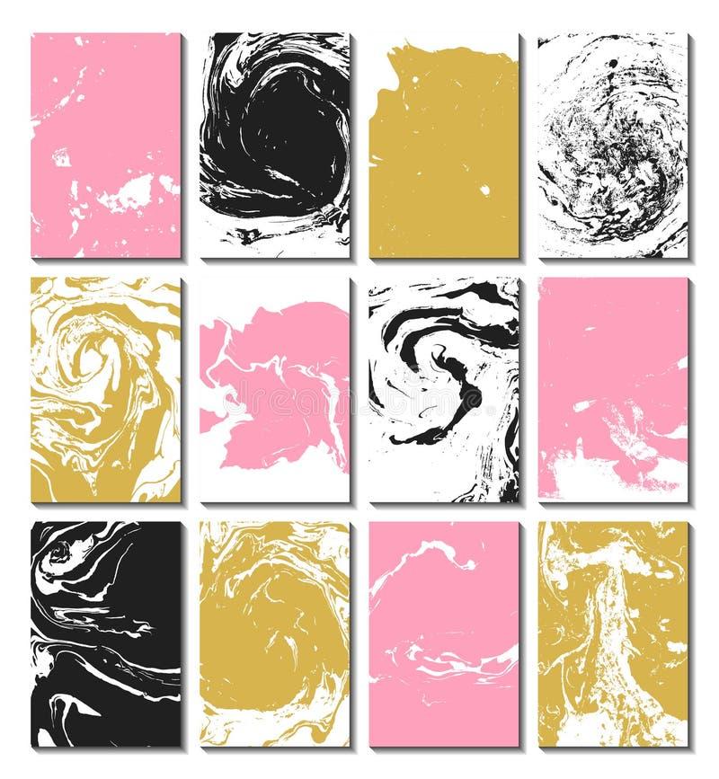 Marbrure, ebru, suminagashi Ensemble de cartes avec la texture, l'effet de l'encre sur l'eau abrégez le fond Conception des carte illustration de vecteur