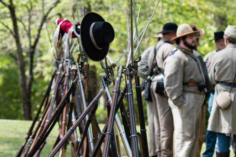 Rifles and bayonets stock photo
